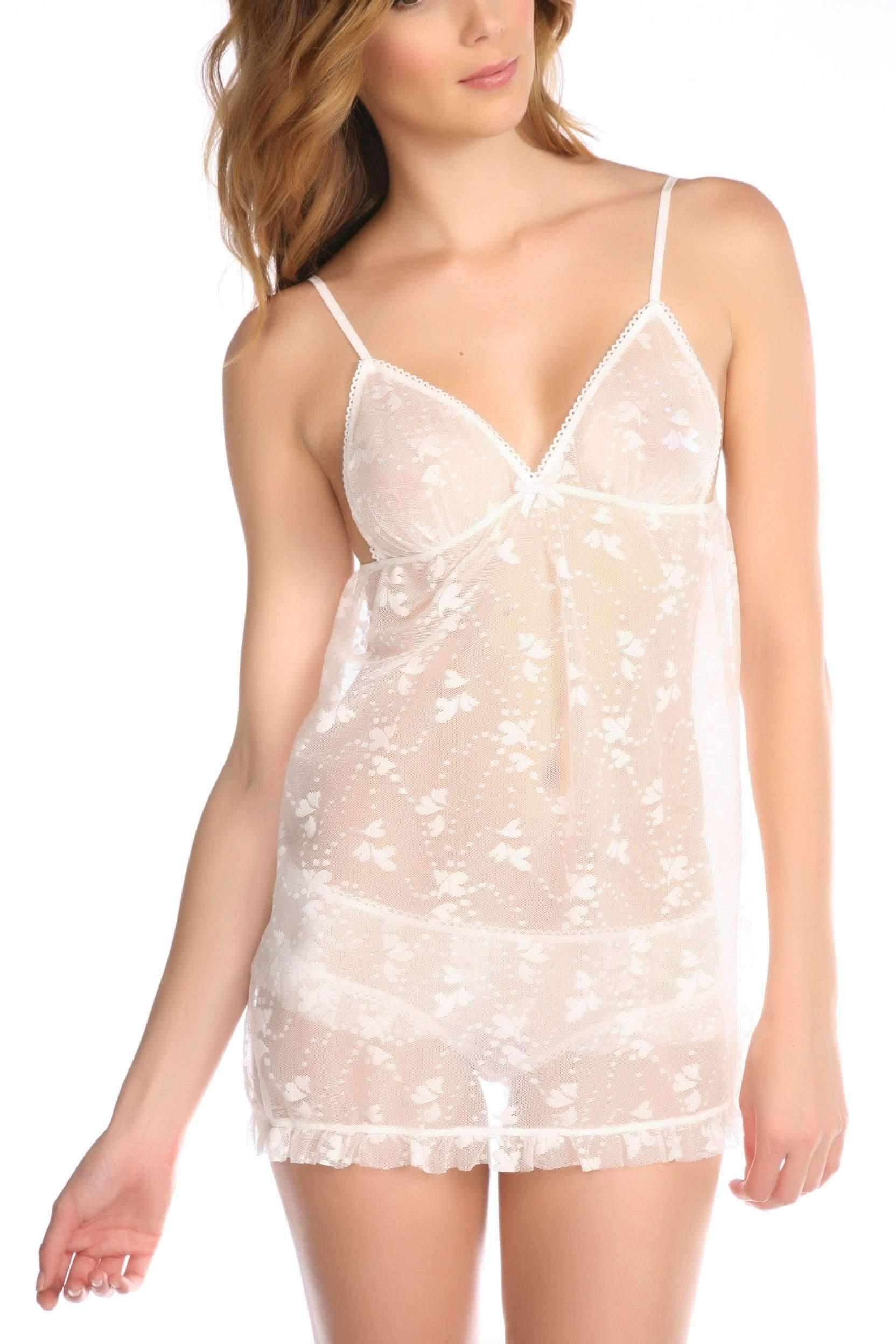 Honeydew Intimates:Queen Of Hearts Babydoll Set,Creme Fraiche / Small