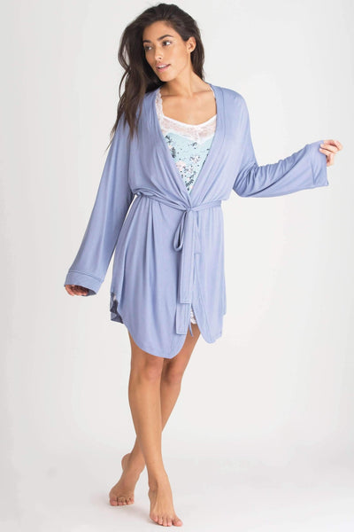All American Rayon Robe-Sleepwear-Honeydew Intimates-Bluebell-Small-Honeydew Intimates