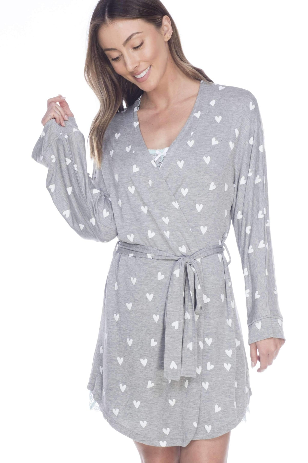 All American Rayon Robe-Sleepwear-Honeydew Intimates-Heather Grey Hearts-Small-Honeydew Intimates