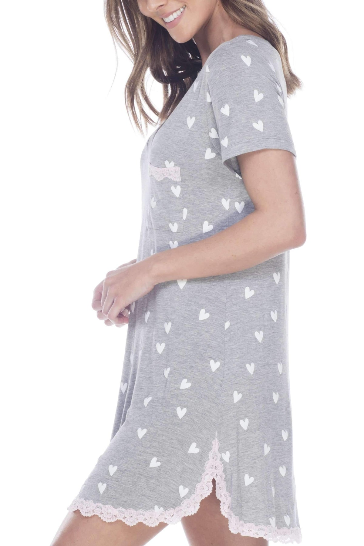 All American Sleepshirt-Sleepshirt-Honeydew Intimates-Heather Grey Hearts-Small-Honeydew Intimates