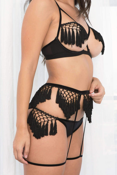 Aster Fringe & Mesh Garter Belt-Panty-Honeydew Intimates-Crush-Extra Large-Honeydew Intimates