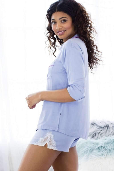 Breakaway Boyfriend Sleepshirt and Boxer PJ Set-Sleepshirt-Honeydew Intimates-Malibu Pinstripe-Large-Honeydew Intimates