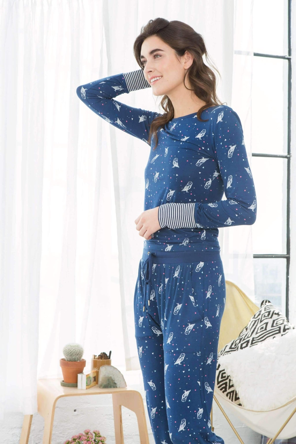 Campfire Cutie PJ Set-Luna Owls-Small-Honeydew Intimates