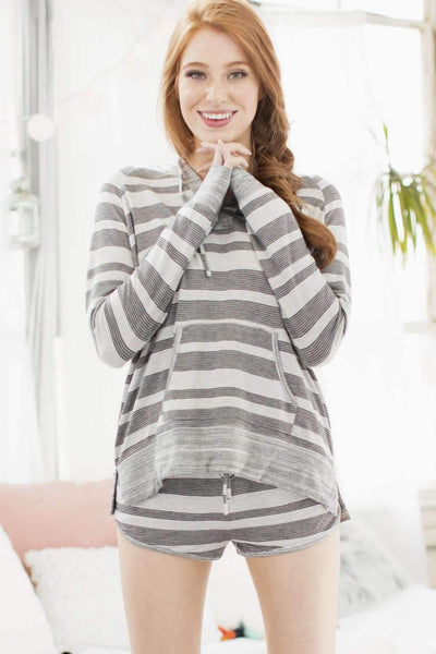 Honeydew Intimates:Disco Chick Hoodie,Macrame Stripe / Small