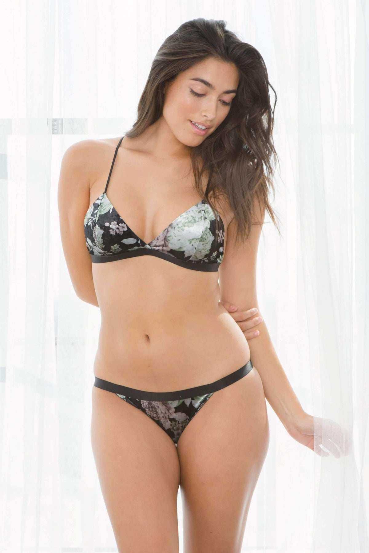 Gia Velour Bikini-Panty-Honeydew Intimates-Black Floral-Small-Honeydew Intimates