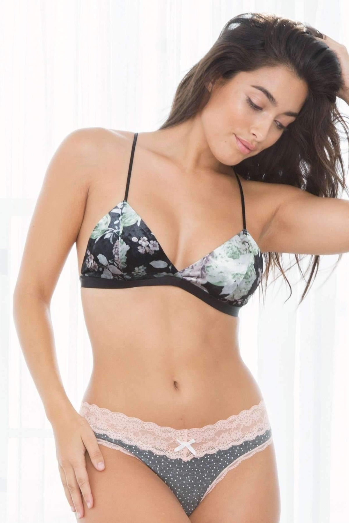 Gia Velour Bralette-Bras-Honeydew Intimates-Black Floral-Small-Honeydew Intimates