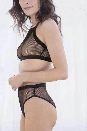 Ivy Net Mesh & Micro High-Cut Brief-Panty-Honeydew Intimates-Honeydew Intimates