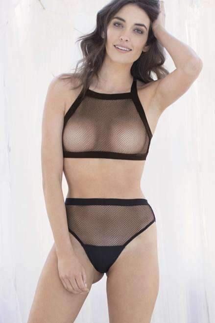Ivy Net Mesh & Micro High-Cut Brief-Black-Small-Honeydew Intimates