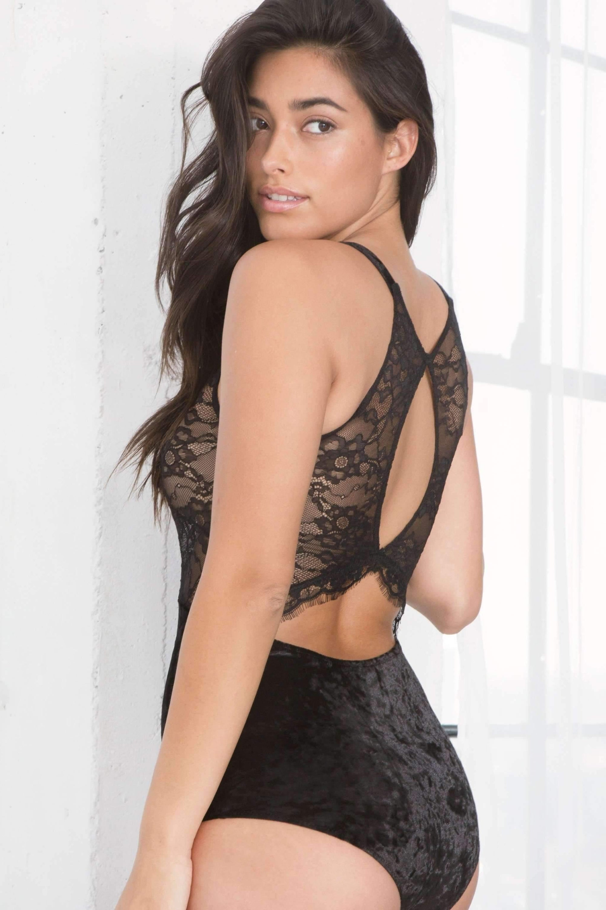Noelle Velvet & Lace Bodysuit-Bras-Honeydew Intimates-Black-Small-Honeydew Intimates