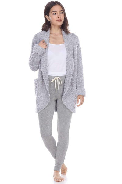 Novelty Knit Cardigan-Loungewear-Honeydew Intimates-Heather Grey-Small-Honeydew Intimates