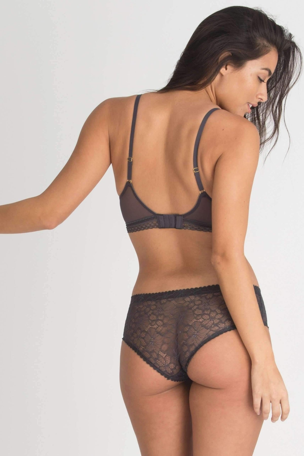 Sasha Scallop Lace Hipster-Panty-Honeydew Intimates-Charcoal-Small-Honeydew Intimates
