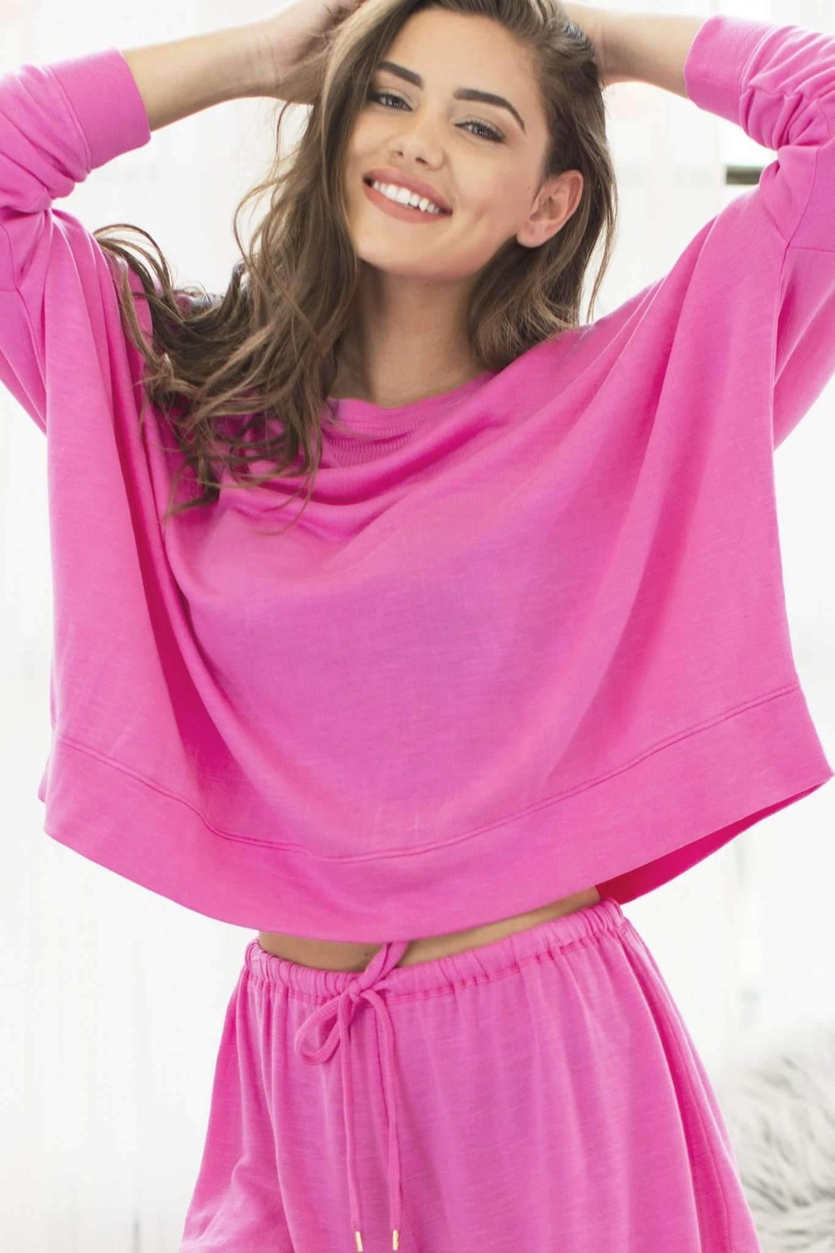 Starlight Lounge Sweatshirt-Sleepshirt-Honeydew Intimates-Pink Watermelon-X-Small-Honeydew Intimates