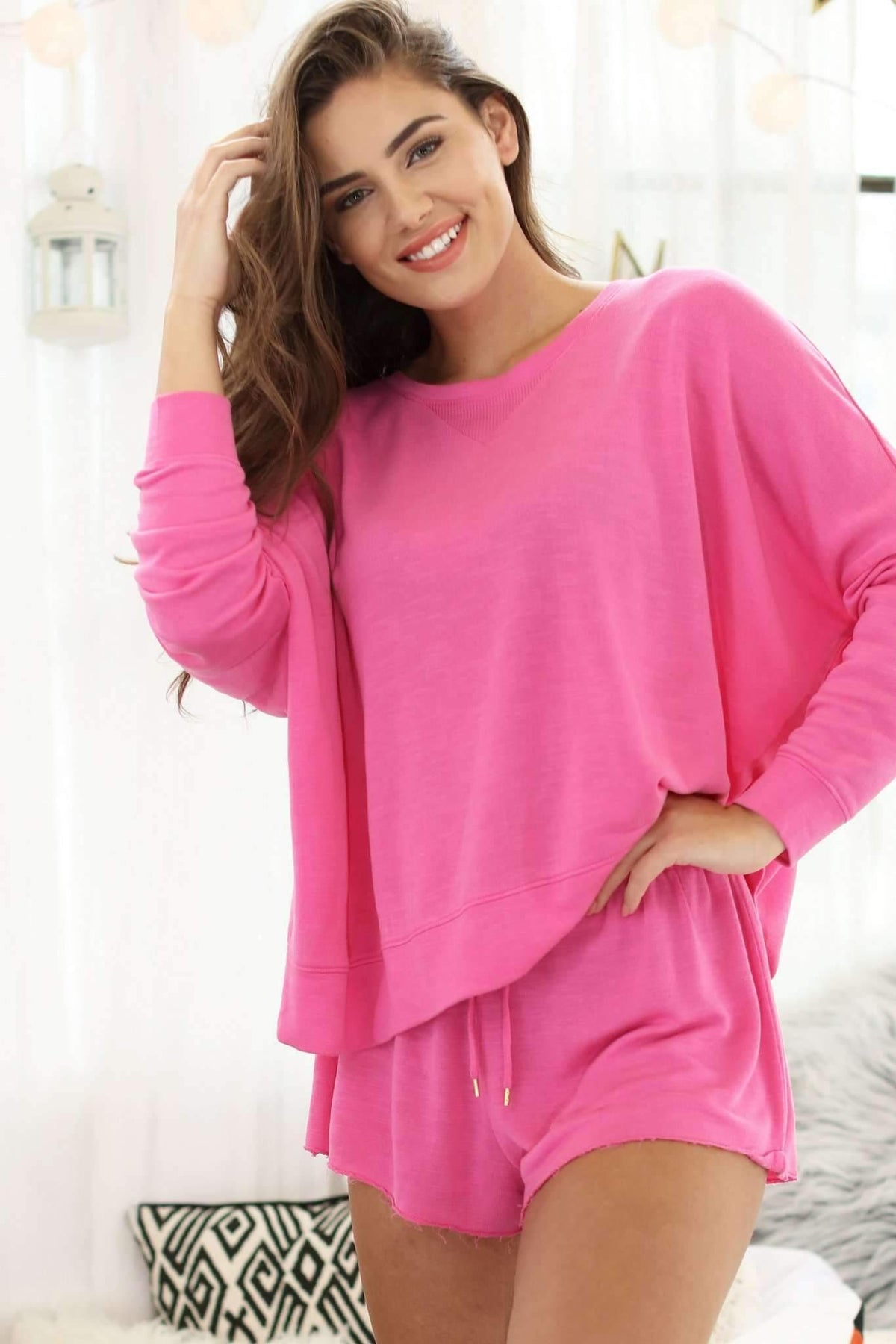 Starlight Lounge Sweatshirt-Pink Watermelon-Extra Large-Honeydew Intimates