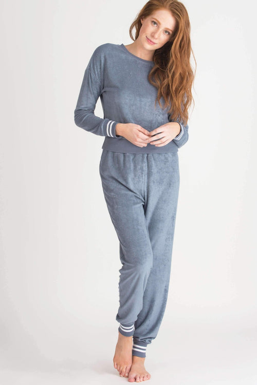 Staycation Hi-Waist Jogger-Sleepwear-Honeydew Intimates-Slate-Small-Honeydew Intimates