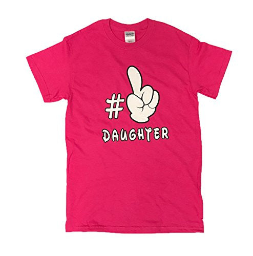 Adult Mickey Mouse Hand Motif #1 Daughter Pink T Shirt - SHOPME.COM