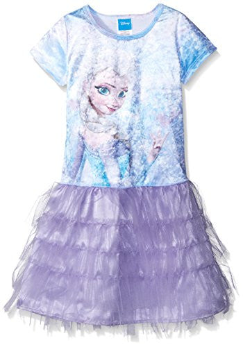 Disney Little Girls' Sparkling Elsa Dress - SHOPME.COM