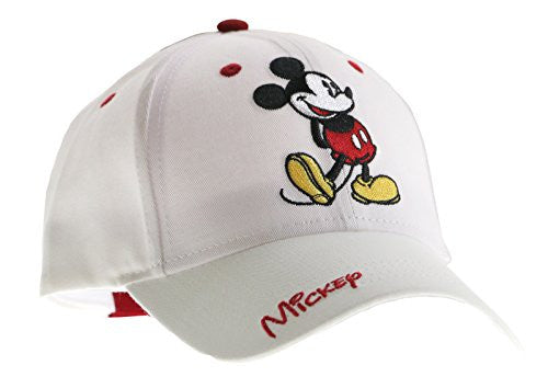 Classic Disney Mickey Mouse Adult Hat Baseball Cap, White & Red - SHOPME.COM
