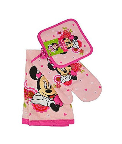 Disney Minnie Mouse Pink Floral 4-pc Kitchen Set: Towel, Oven Mitt & 2 Pot Holders - SHOPME.COM
