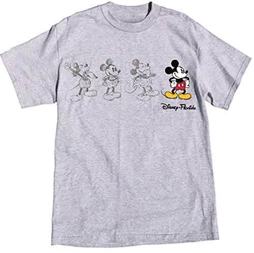 Disney Mickey Mouse Adult Unisex T Shirt 3 Mickey Sketch Embroidered Mickey (Sports Grey) - SHOPME.COM