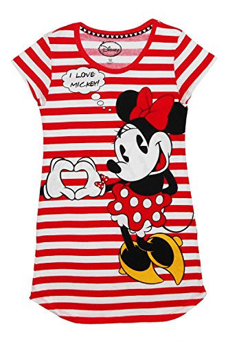 Disney Juniors Mickey & Minnie Mouse Stripe Dorm Night Shirt - SHOPME.COM