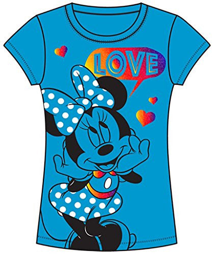 Disney Minnie Mouse Loves Youth Girls T Shirt, Blue Tee - SHOPME.COM
