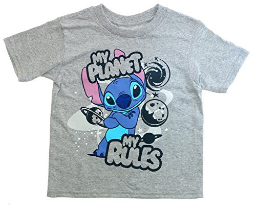Disney Tee Toddler Boys T Shirt Lilo & Stitch Planet Rules My Planet Fashion Top (2T)