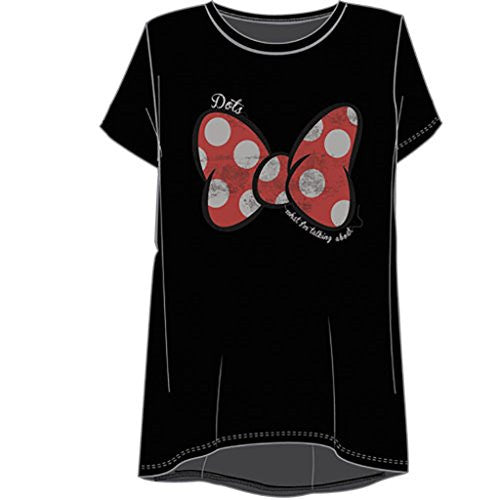 Disney Minnie Mouse Women Hi Lo Dots Fashion T Shirt Black - SHOPME.COM