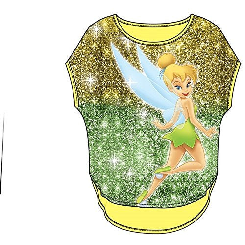 Disney Youth Girls Glitter Sublimated Top Tinkerbell Pixie Dust, Yellow Green - SHOPME.COM