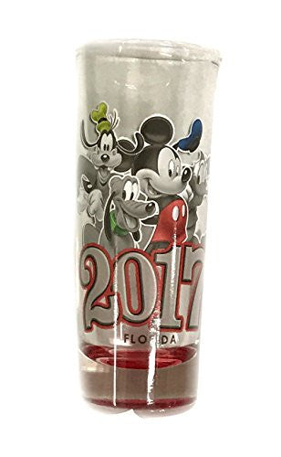 2017 Group Mickey Minnie Donald Goofy Pluto Collection Glass, Red