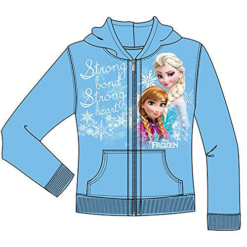 Disney Girls Strong Heart Anna Elsa Frozen Zip Up Hoodie, Light Blue - SHOPME.COM