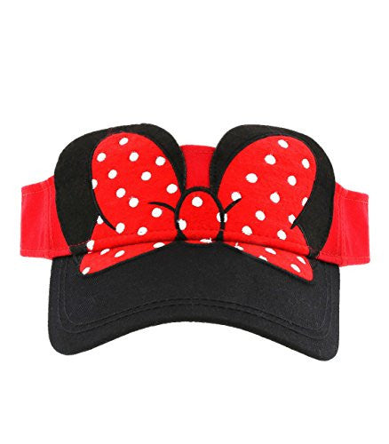 Disney Parks Exclusive Minnie Mouse Bow Visor Hat Adult Size - SHOPME.COM