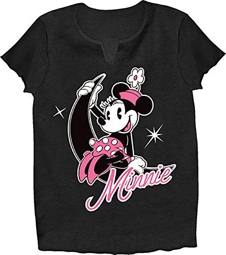 Disney Classic Minnie Mouse Girls Pajama T Shirt Top - Black Pink - SHOPME.COM