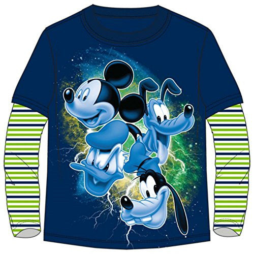 Disney Youth Boys Mickey Mouse Group Long Sleeve Navy Blue X-Large T-Shirt - SHOPME.COM