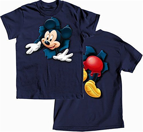 Disney Mickey Mouse Bursting Front and Back Boys T Shirt - Navy Blue XL - SHOPME.COM