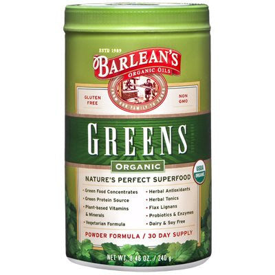 Barlean's Organic Oils - Greens Powder 8.46 oz - SHOPME.COM