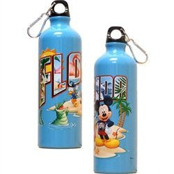 Florida Postcard Mickey Goofy Donald Aluminum Water Bottle - SHOPME.COM