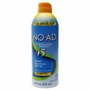 NO-AD Water Resistant Continuous Spray Sunscreen SPF 45 10 oz - SHOPME.COM