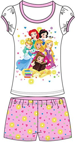 Disney Toddler Girls Short Set Baby Princesses Cinderella Bella Rapunzel Snow White Ariel 2-pc Set - SHOPME.COM