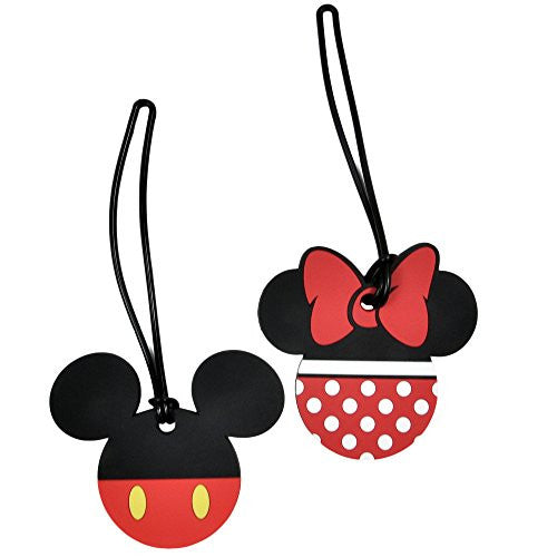 2 Pack Disney Luggage Suitcase Tags Mickey & Minnie Mouse Body/Pants PVC - SHOPME.COM