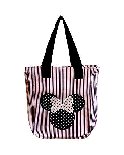 Disney Minnie Mouse Polka Dot & Pin Stripe Pink & Black Zippered Tote Bag - SHOPME.COM