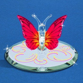 Glass Baron Butterfly Sunset Red