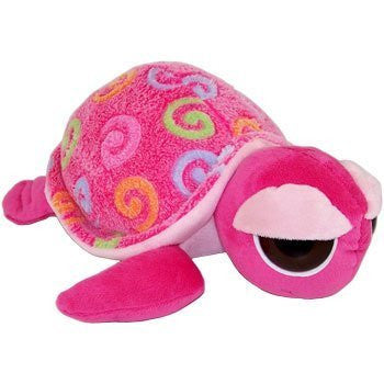 Fiesta Plush - Color Swirls - BIG EYE TURTLE (Bubble Gum Pink - 12 inch)