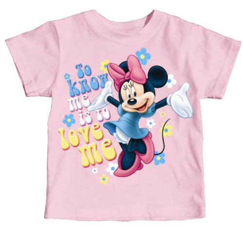 Disney Girl's Minnie Mouse To Know Me is to Love Me T-Shirt Pink - SHOPME.COM