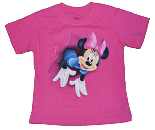 Disney Girls T Shirt Pop Out Minnie w/ Free Disney Stickers, Pink