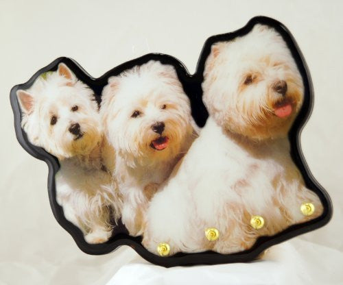 "WEST HIGHLAND WHITE TERRIER DOG KEY RING HANGER HOOK 8"" X 7"" WOOD WALL SIGN PLAQUE - SHOPME.COM"