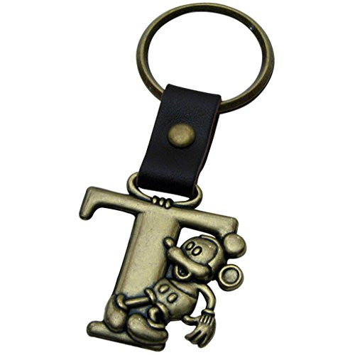1 X Mickey Mouse Letter T Brass Key Chain - SHOPME.COM
