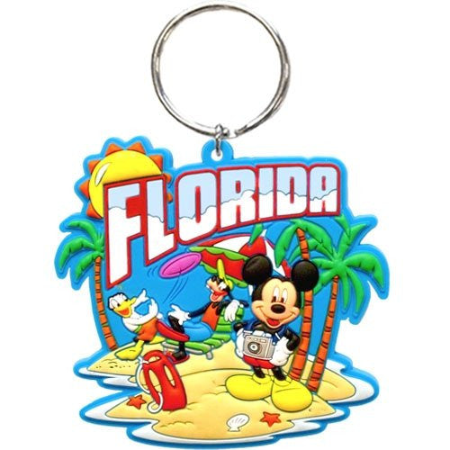 Disney Mickey Mouse Florida Postcard Fun Keychain key chain (Florida Namedrop) - SHOPME.COM