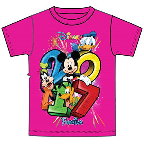 Disney Youth 2017 Dated Stacked Mickey Donald Goofy Pluto Tee, Pink (Florida Namedrop) - SHOPME.COM