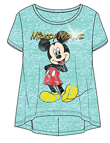 Disney Happy Mickey Standing Youth Girls Fashion Top Hilo Burnout , Mint Blue - SHOPME.COM