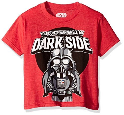 Star Wars Boys' Little Boys' Tiny Vader T-Shirt, Red Heather, 04 - SHOPME.COM